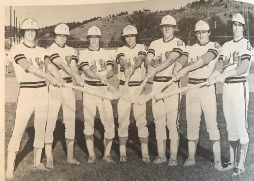 Sticks 1977: Kelvin Torve, Joe Hedrick, Tony Remer, John Magbuhat, Jeff Ellis, John Burnett, Steve Naylor